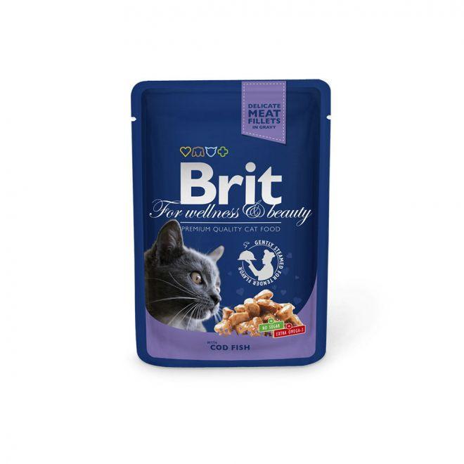 Brit Premium Portionspåsar Med Torsk För Katter