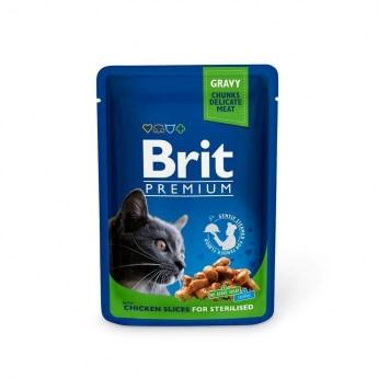 Brit Premium paloja kastikkeessa kanaviipaleet steriloiduille