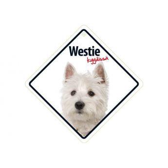"""Lemmikkikyltti """"Westie kyydissä"""""""