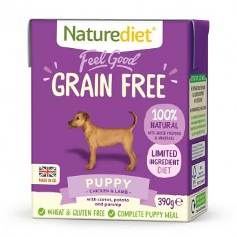 Naturediet Grain Free Puppy kana & lammas (390 g)
