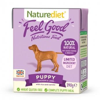 Naturediet Feel Good Puppy kana & lammas (390 g)