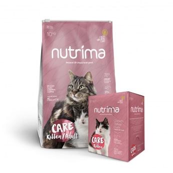 Nutrima Cat Care Kitten/Adult 10kg + märkäruoka
