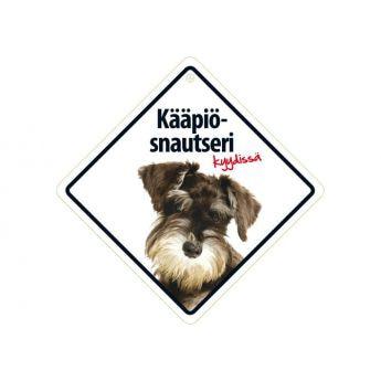 """Lemmikkikyltti """"Kääpiösnautseri kyydissä"""" (14 cm)"""