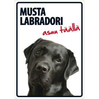 """Lemmikkikyltti """"Musta labradori asuu täällä"""" (21 x 15 cm)"""
