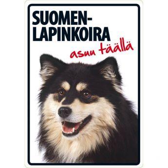 """Lemmikkikyltti """"Suomenlapinkoira asuu täällä"""" (21 x 15 cm)"""