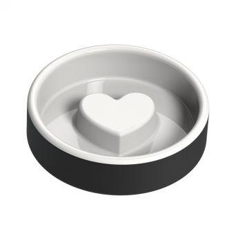 Happy Pet Project Slow Feed ruokakuppi sydän musta (Keraaminen)