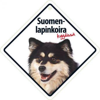 """Lemmikkikyltti """"Suomenlapinkoira kyydissä"""" (14 cm)"""
