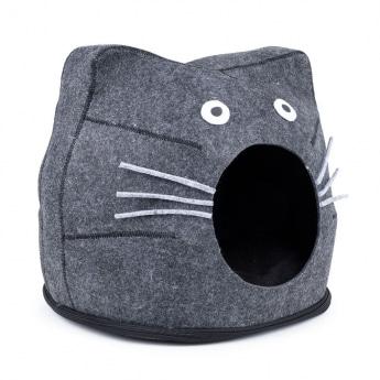 Little&Bigger Cat Cave Kitty peti tummanharmaa