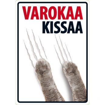 """Lemmikkikyltti """"Varokaa kissaa"""" (21 x 15 cm)"""