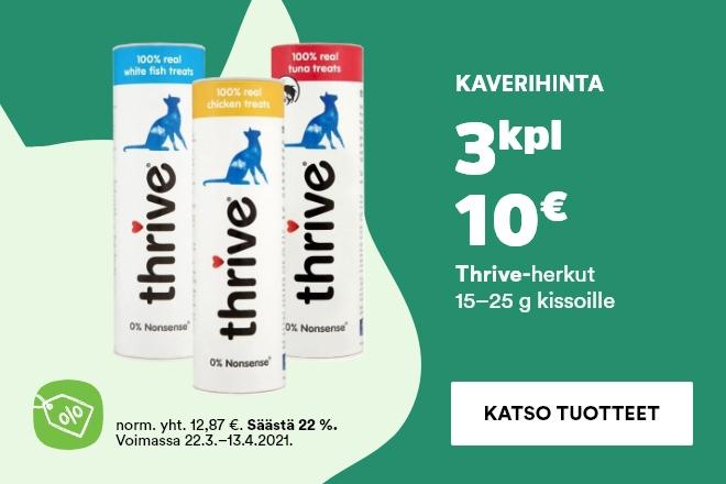 Thrive-kissanherkut 3 kpl 10 €