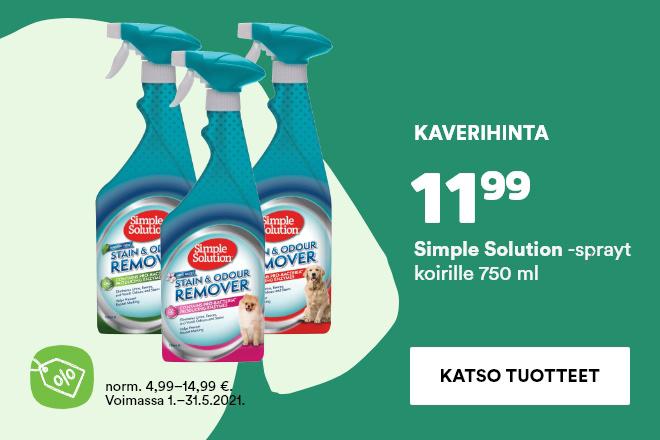 Simple Solution -sprayt koirille 750ml 11,99€