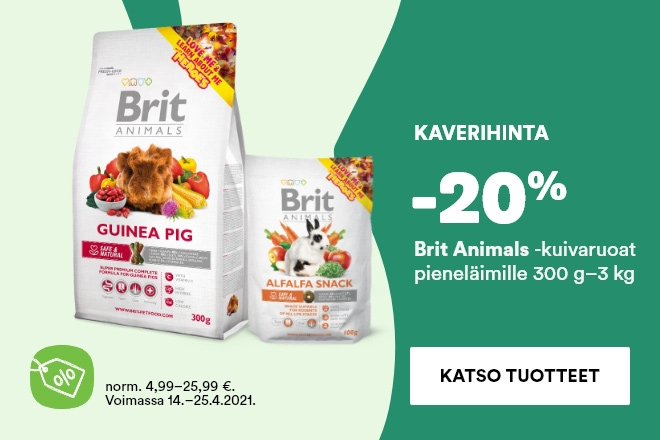 Brit Animals -ruoat ja herkut pieneläimille -20%