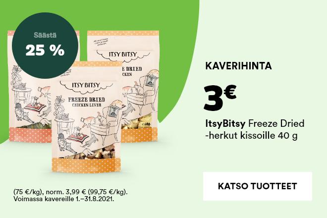 ItsyBitsy -pakastekuivatut herkut kissoille 3€