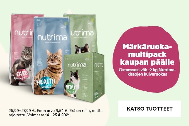 Osta vähintään 2 kg Nutrima-kissan kuivaruokaa, saat märkäruokamultipackin kaupan päälle!