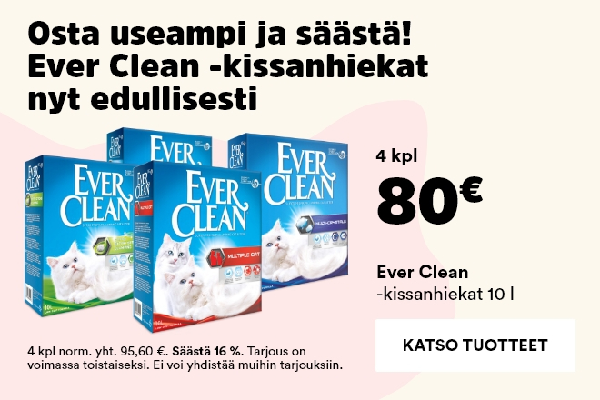 Ever Clean -kissanhiekat 4 kpl 80 €