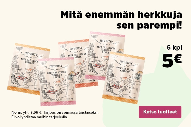 ItsyBitsy kissan herkkutikut 5kpl 5€