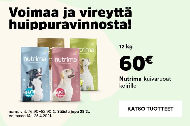 Nutrima koiran kuivaruoat 12kg 60€
