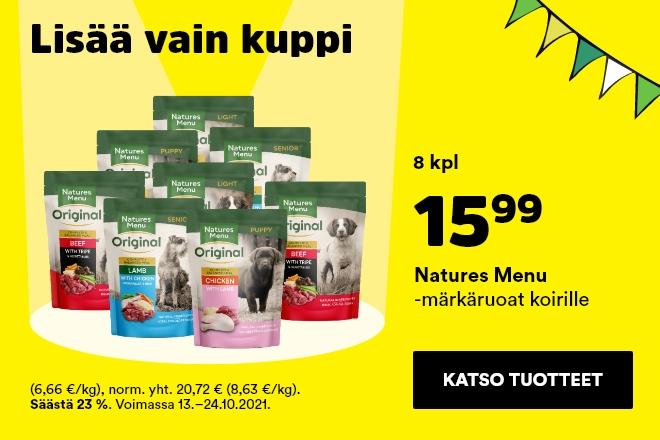 Natures Menu -märkäruoat 300g 8kpl 15,99 €