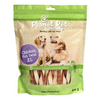 Planet Pet Society kylling-fisketwist XL 400 g