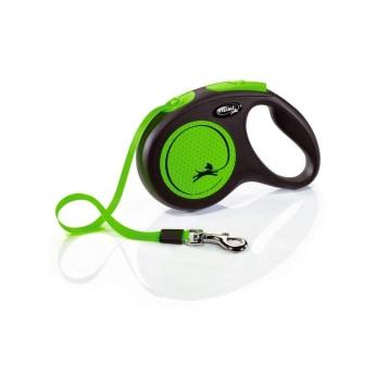 Flexi New Classic Neonbånd Medium 5 m/20kg (Grønn)