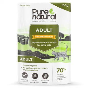 Purenatural Adult Kylling & Laks våtfôr til katter (100 gram)