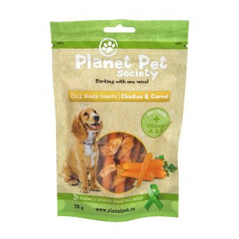 Planet Pet Society 2in1 Treats kylling-gulrot (70 gram)