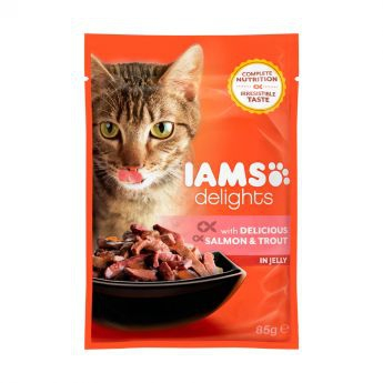 Iams Delights wet salmon&trout Jelly-single**