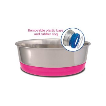 Little&Bigger Clip On skål m/gummibunn rosa**