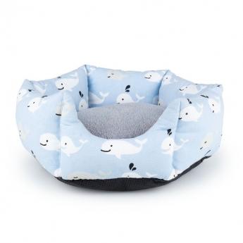Little&Bigger Whale seng blå/hvit