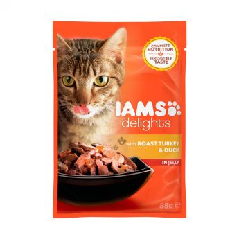 Iams Delights wet turkey&duck Jelly- single (85 gram)**