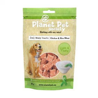 Planet Pet Society 2in1 Treats kylling-ris i biter**