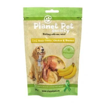 Planet Pet Society 2in1 Treats kylling-banan 70 g (70 gram)