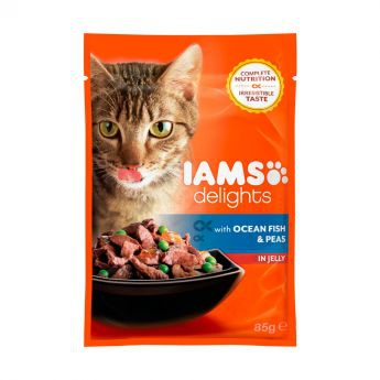 Iams Delights wet ocean fish&peas Jelly - single**