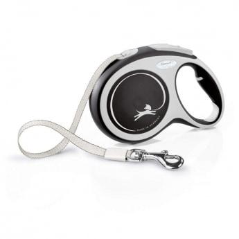 Flexi New Comfort Tape Large 8 m bånd/50 kg (Svart)