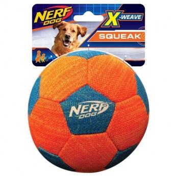 NERF Dog Foam X weave Squeak Fotball Orange Blå