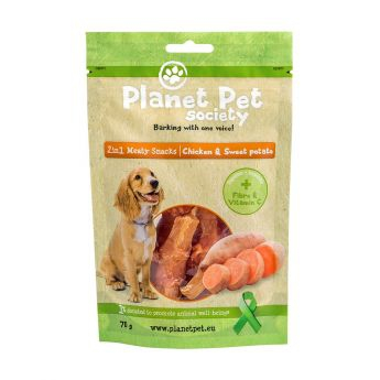 Planet Pet Society 2in1 kylling&søtpotet (70 gram)**