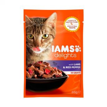 Iams Delights Lamb &Red Pepper Gravy (85 gram)**