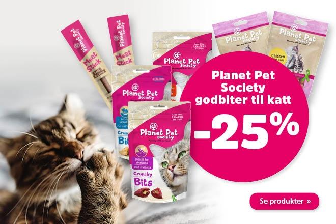 25% på godbiter fra Planet Pet Society