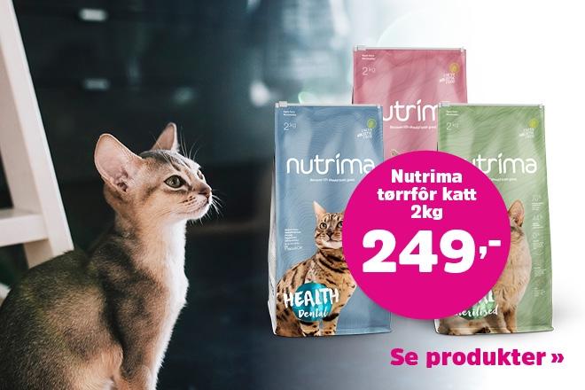 2 kg Nutrima tørrfôr til katter kun 249,-