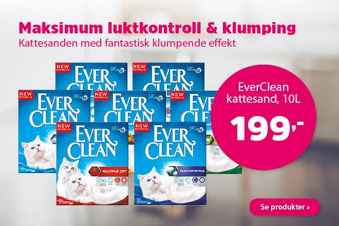 Kun 199,- for kattesand fra Ever Clean 10L