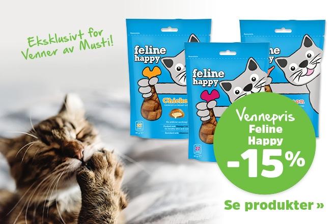15% på godbiter fra Feline Happy
