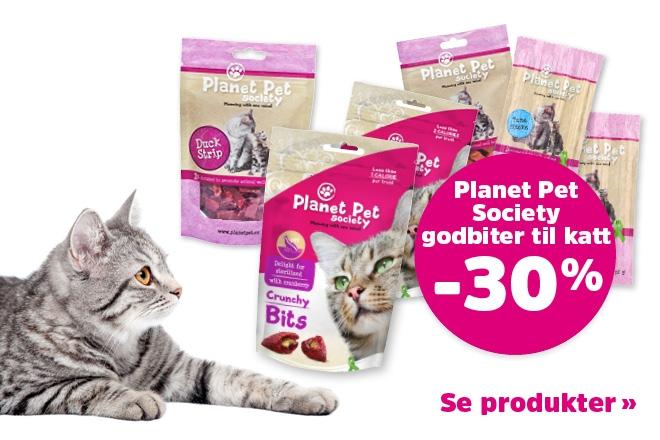 30% på godbiter til katter fra Planet Pet Society