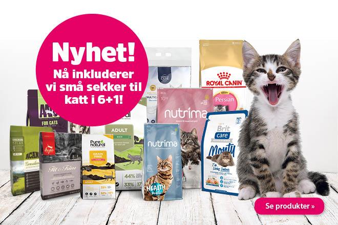 Hver 7. sekk med tørrfôr til katter gratis