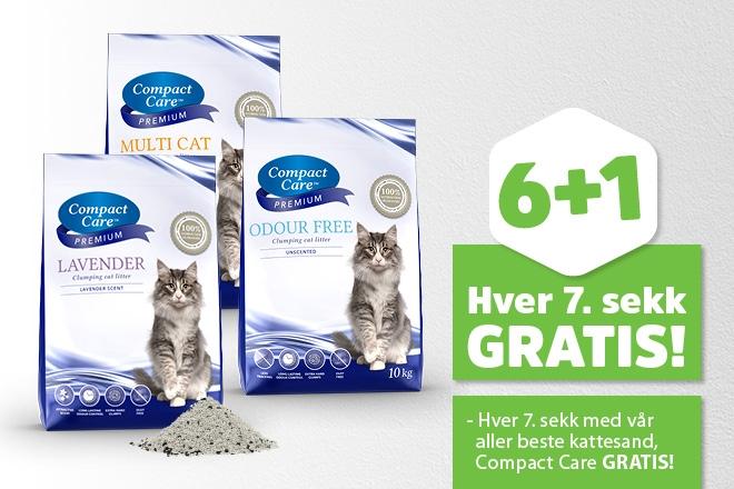 Få hver 7. sekk med kattesand fra Compact Care gratis