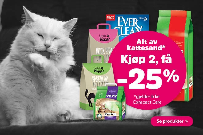 Kjøp 2 kattesand og få 25%