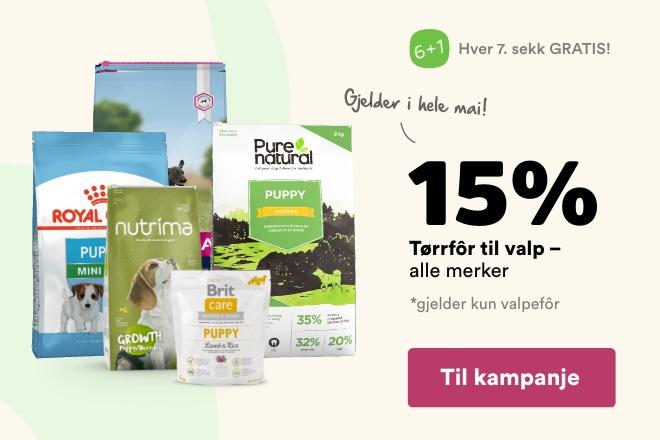-15% på tørrfôr til valp