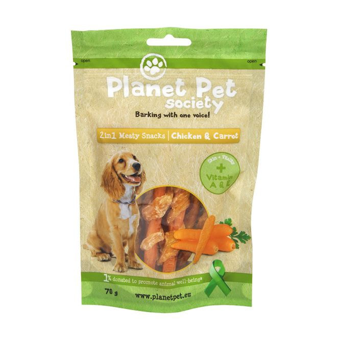 Planet Pet Society 2in1 Treats kylling-gulrot