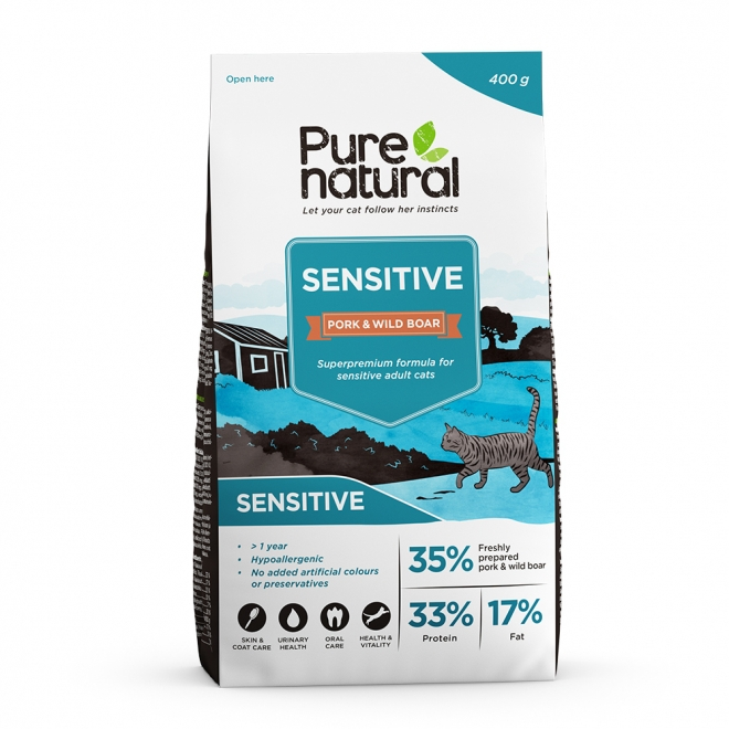 Purenatural Cat Adult Sensitive Pork & Wild Boar (400 g)