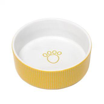 PetRageous Dots Keramikskål Mimosa/Vit**