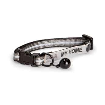 Basic Cat Reflective Halsband med Namnskylt (Grå)